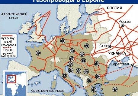Газопроводы. Россия схема